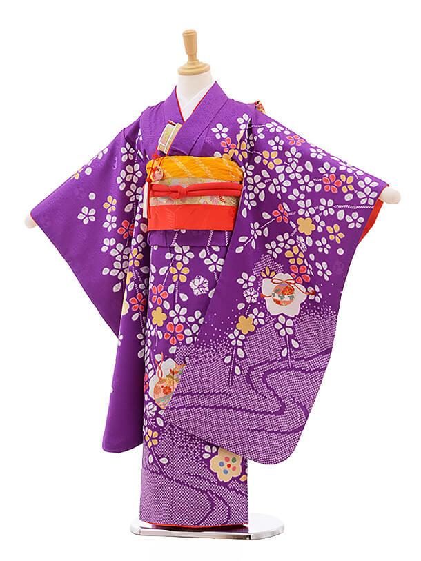 七五三レンタル(7歳女の子結び帯)7573 パープル地 枝垂れ桜