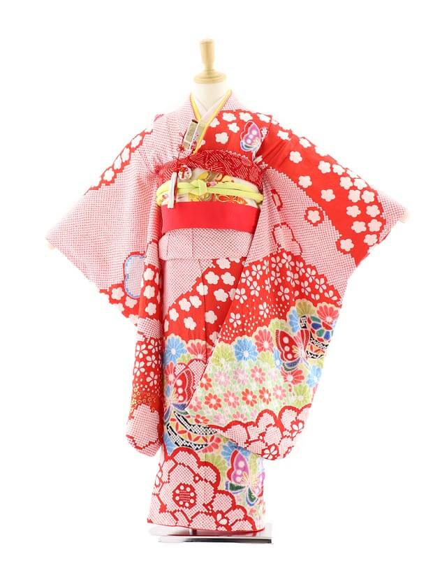 七五三レンタル(7歳女の子袋帯)7575 赤地 総絞り 花 蝶 (正絹)
