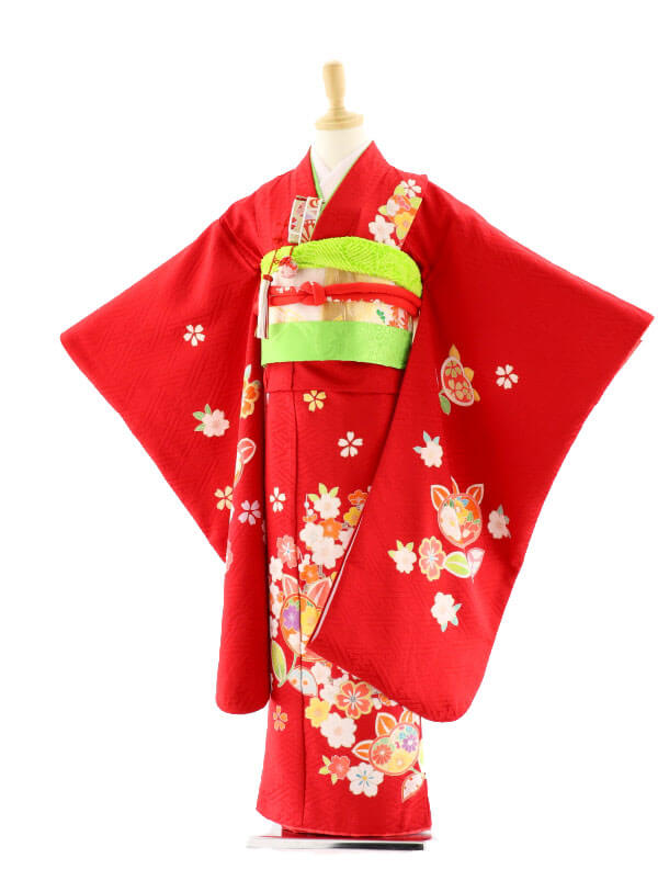 七五三レンタル(7歳女の子袋帯)7576 赤地 桜 橘 (正絹)