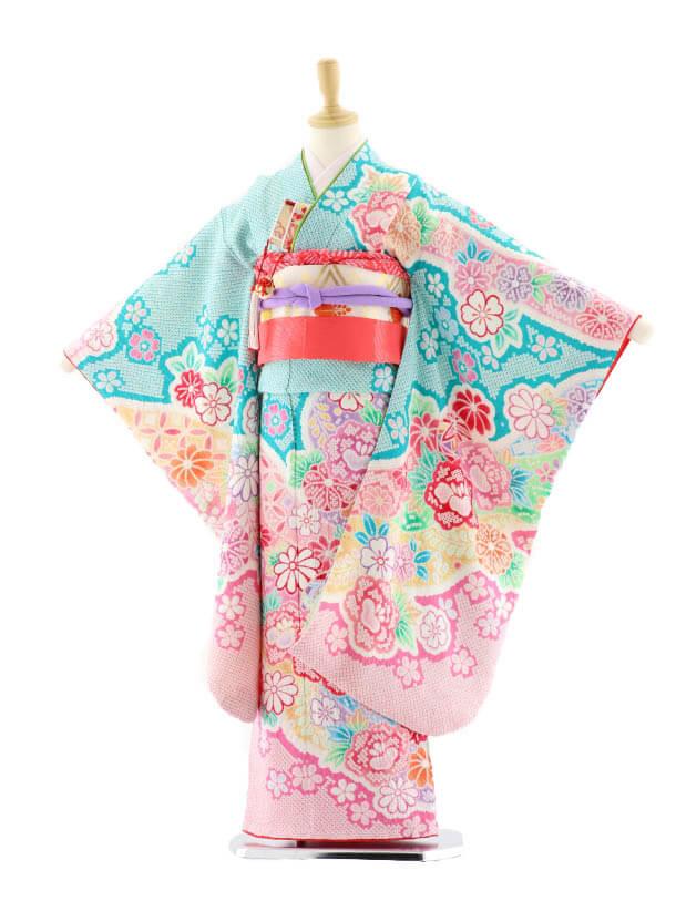 七五三レンタル(7歳女の子袋帯)7577 ブルーグリーン地総絞りまり(正絹)
