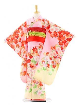 七五三レンタル(7歳女の子袋帯)7578 式部浪漫 ピンク地 花 (正絹)