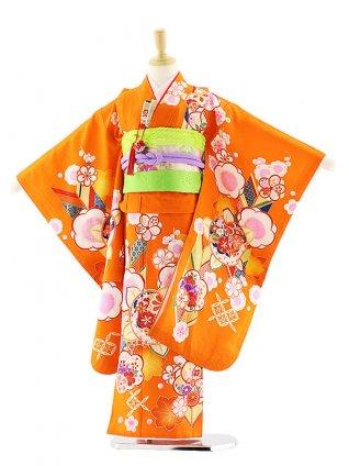 七五三レンタル(7歳女の子袋帯)7579 オレンジ地 梅橘 (正絹)
