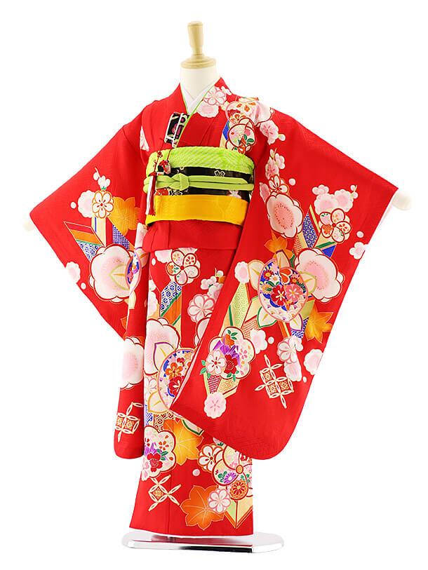 七五三レンタル(7歳女の子袋帯)7581 赤地 梅橘 (正絹)