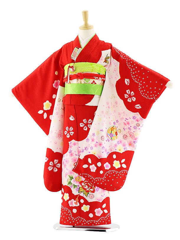 七五三レンタル(7歳女の子袋帯)7582 赤地 桜にまり (正絹)