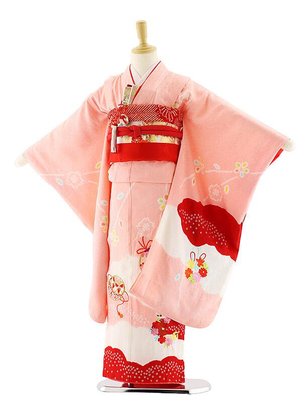 七五三レンタル(7歳女の子袋帯)7583 ピンク地 まり (正絹)