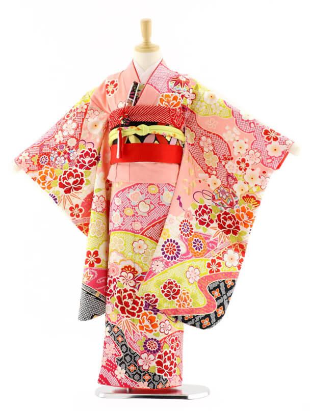 七五三レンタル(7歳女の子袋帯)7584 ピンク地 花ざかり (正絹)