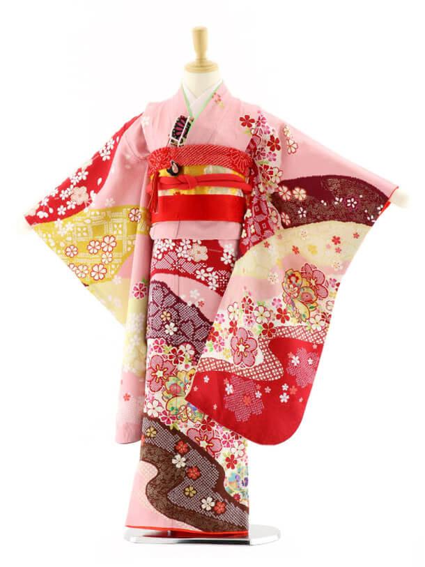 七五三レンタル(7歳女の子袋帯)7585 ピンク地 春満開 (正絹)