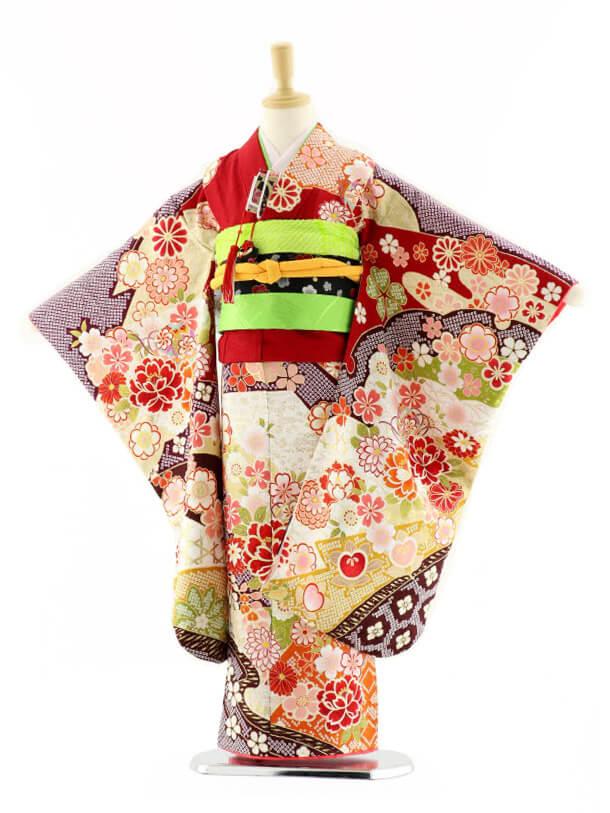七五三レンタル(7歳女の子袋帯)7586 エンジ色 花づくし (正絹)