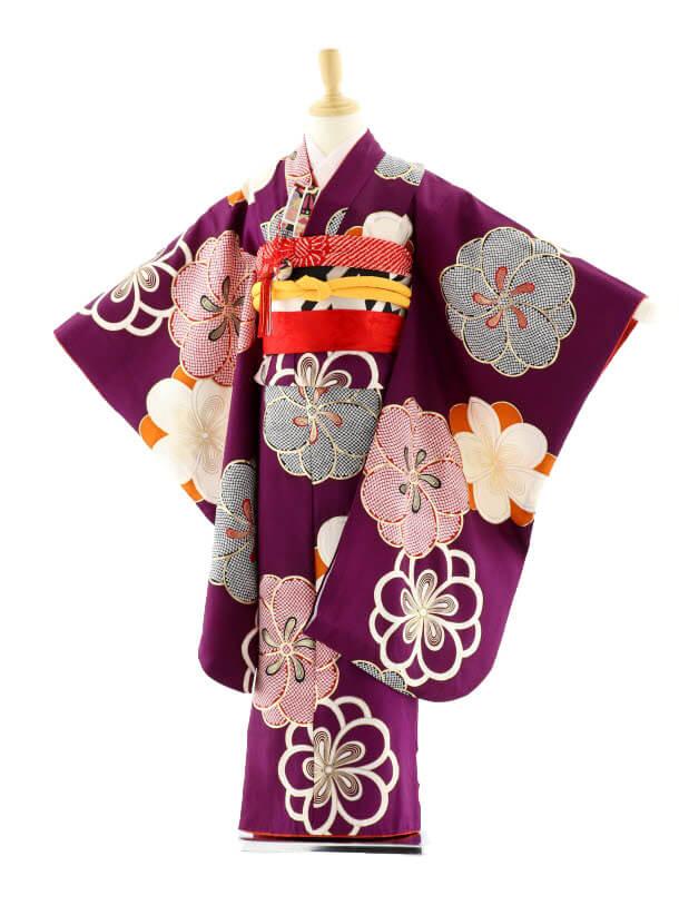 七五三レンタル(7歳女の子袋帯)7588 紅一点 紫 梅 (正絹)