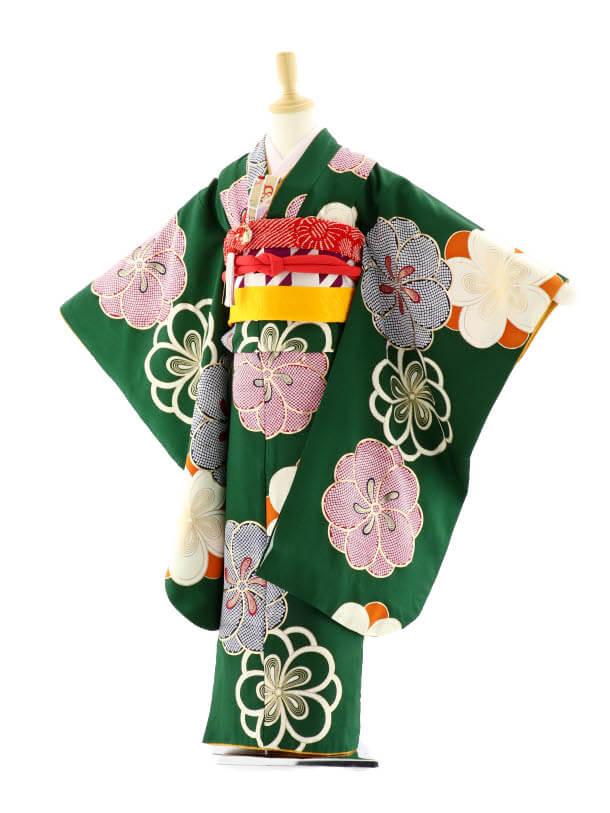 七五三レンタル(7歳女の子袋帯)7590 紅一点 グリーン 梅 (正絹)