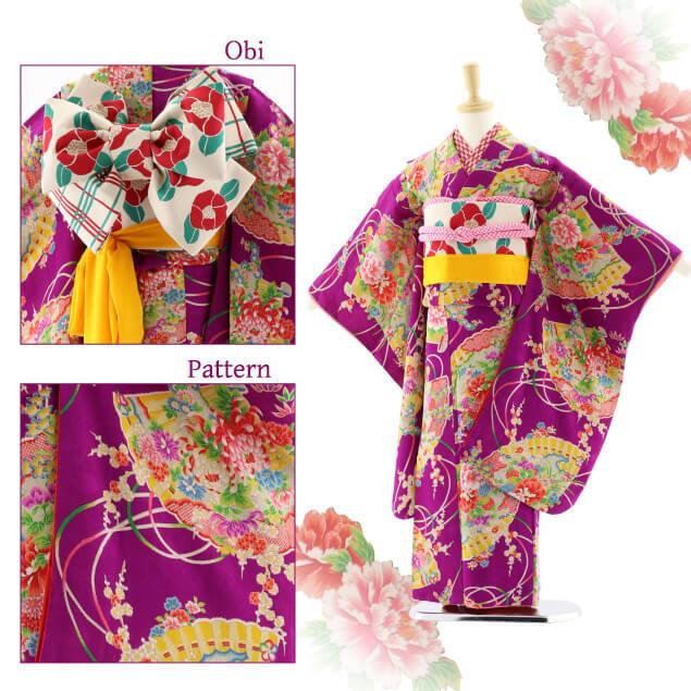 七五三レンタル (7歳女結び帯)7609 アンティーク 紫 花扇