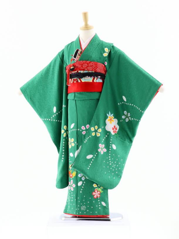 七五三レンタル(7歳女袋帯)7625 正絹 グリーン地 梅桜