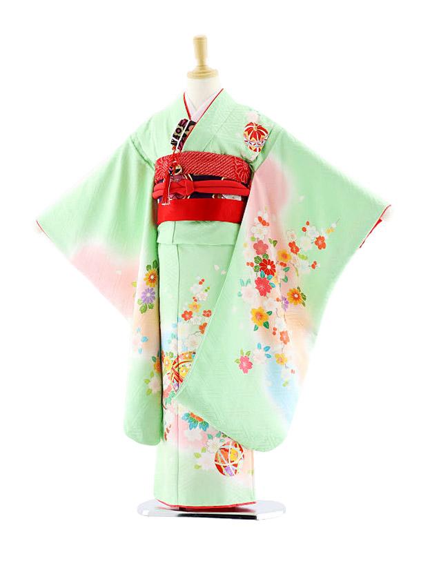 七五三レンタル(7歳女袋帯)7626 正絹 パステルグリーン 桜まり