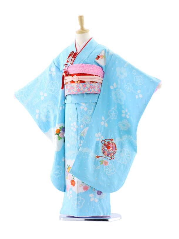 七五三レンタル(7歳女袋帯)7628 正絹 水色地 まり刺繍