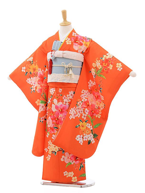 七五三(7歳女結び帯)7635 チャイルドール オレンジ ダンガリー花