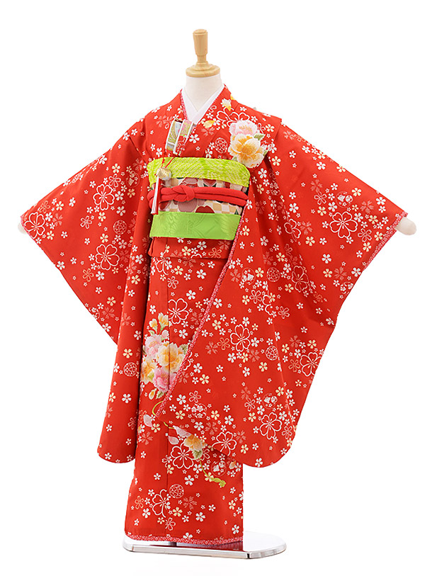 七五三レンタル(7歳女の子結び帯)7636 赤地 桜