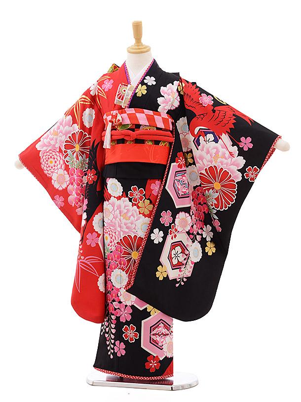 七五三レンタル(7歳女の子結び帯)7638 JAPAN STYLE 黒赤 ぼたん