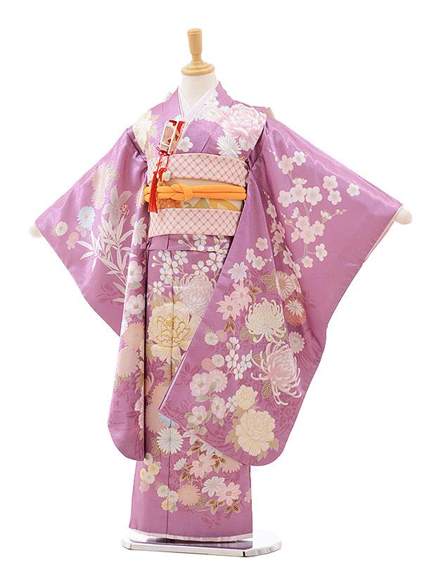 七五三(7歳女の子結び帯)7639 cotocomachi パープル花