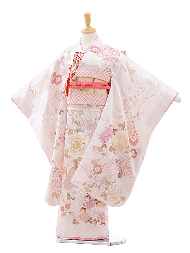 七五三レンタル(7歳女の子結び帯)7640 cotocomachi 白花