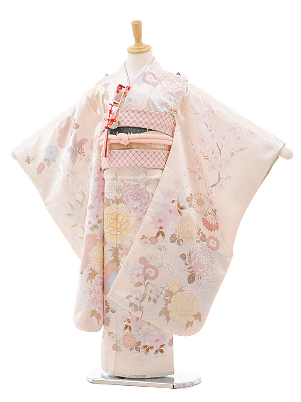 七五三レンタル(7歳女の子結び帯)7641 cotocomachi クリーム花