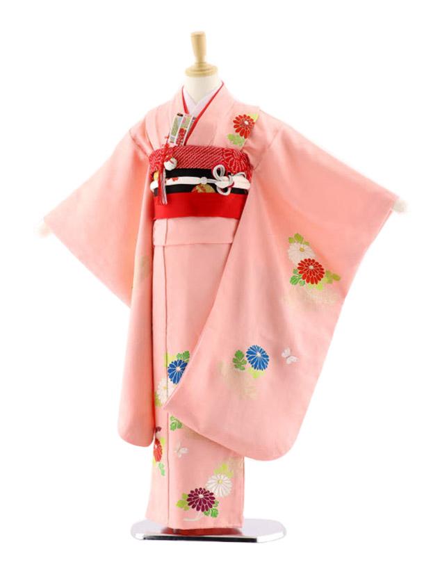 七五三レンタル(7歳女児袋帯)7653 池田重子 ピンク地 菊に蝶々