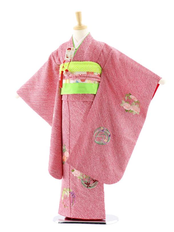 七五三(7歳女児袋帯)7655 池田重子 赤地 総絞り 花紋 刺繍