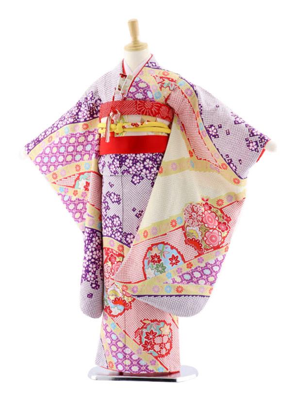 七五三レンタル(7歳女児袋帯)7656 紫地 のしめ 花 絞り