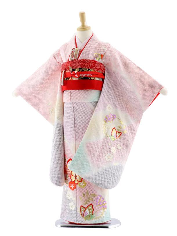 七五三(7歳女児袋帯)7657 うす赤 ぼかし 花 蝶 刺繍 絞り