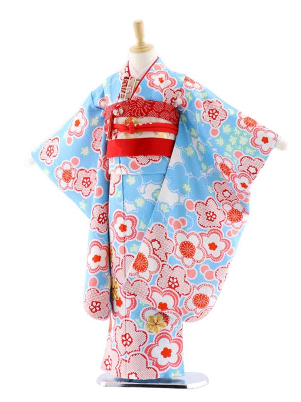 七五三(7歳女児袋帯)7659 水色地 梅 滝泰 総絞り