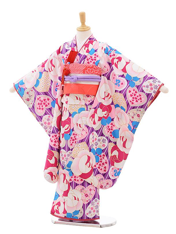 七五三(7歳女児結び帯)7660 Barbie パープル バラ