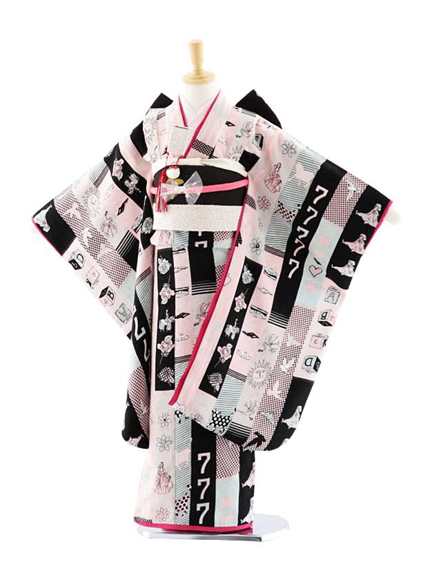 七五三(7歳女結帯)7692 モダンアンテナ ラッキーセブン 黒 ピンク