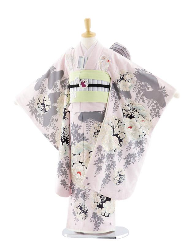 七五三(7歳女児結び帯)7700 NATURAL BEAUTY 椿に梅 ピンク