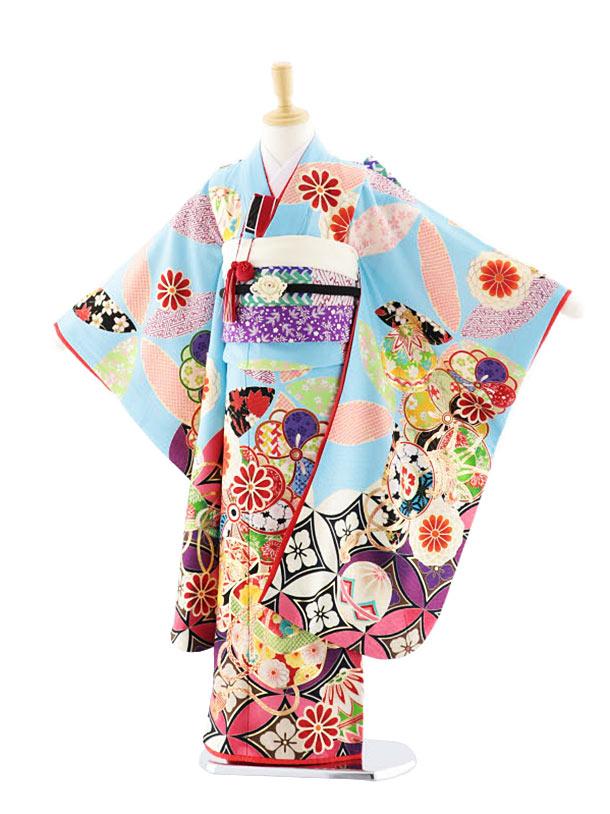 七五三(7歳女児結び帯)7701 HAIBARA 七宝に文箱 水色