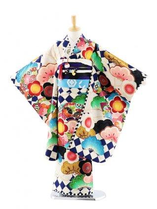 七五三(7歳女児結び帯)7704 JAPANSTYLE ダイヤに扇松梅 紺