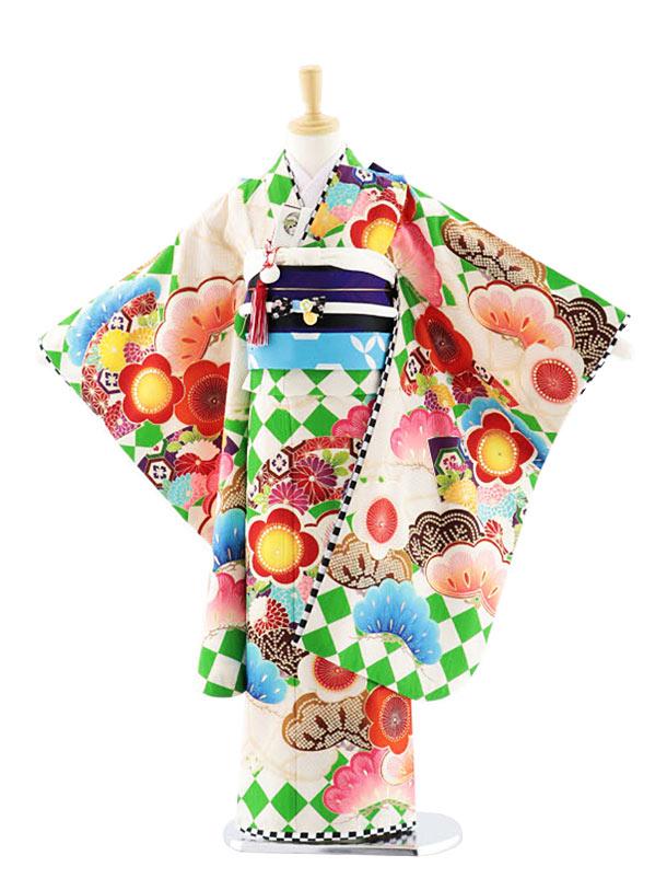 七五三(7歳女結帯)7706 JAPANSTYLE ダイヤに扇松梅 グリーン