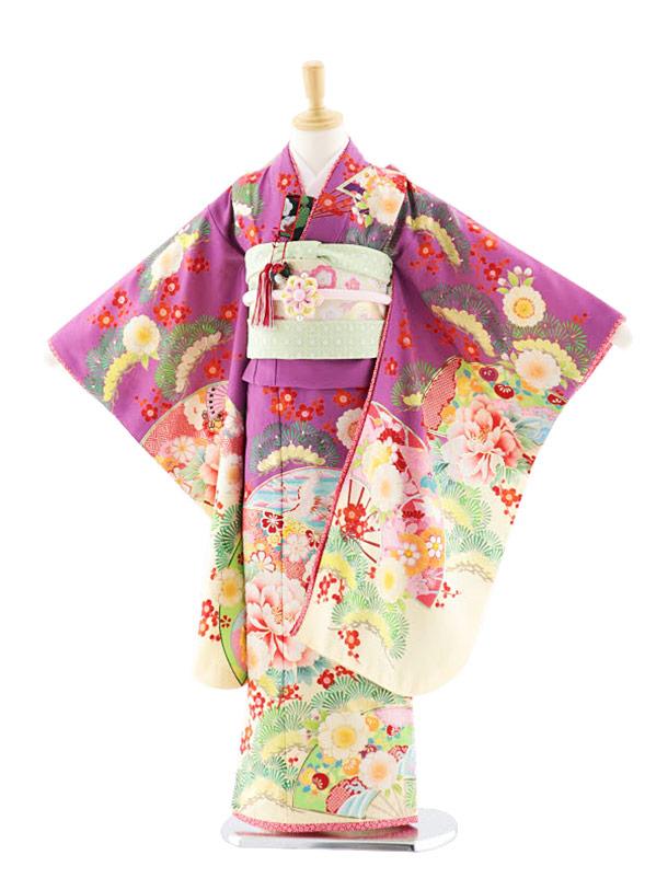 七五三(7歳女児結び帯)7708 乙葉 短冊に扇 パープル