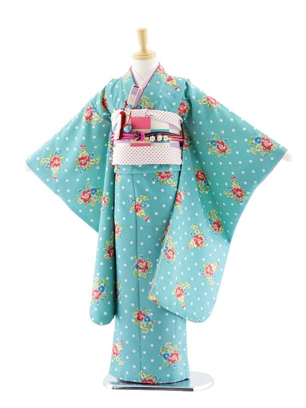 七五三(7歳女児結び帯)7711 ぷちぷり 水玉に花 グリーン