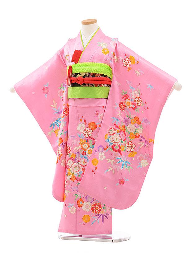 七五三(7歳女児結び帯)7715 正絹 ピンク地 花