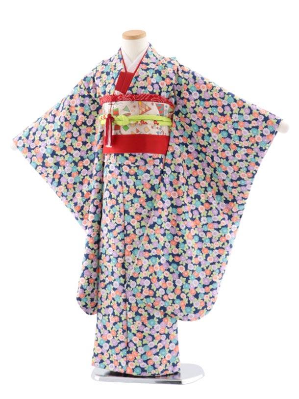 七五三レンタル(7歳女児結び帯) 正絹 7719 紺地 小紋 菊
