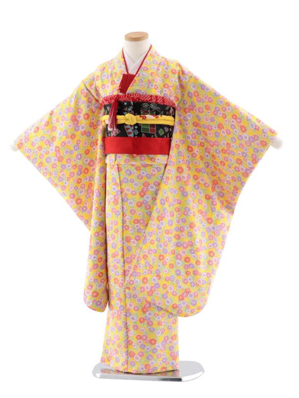 七五三レンタル(7歳女児結び帯) 正絹 7720 黄色地 小紋 菊