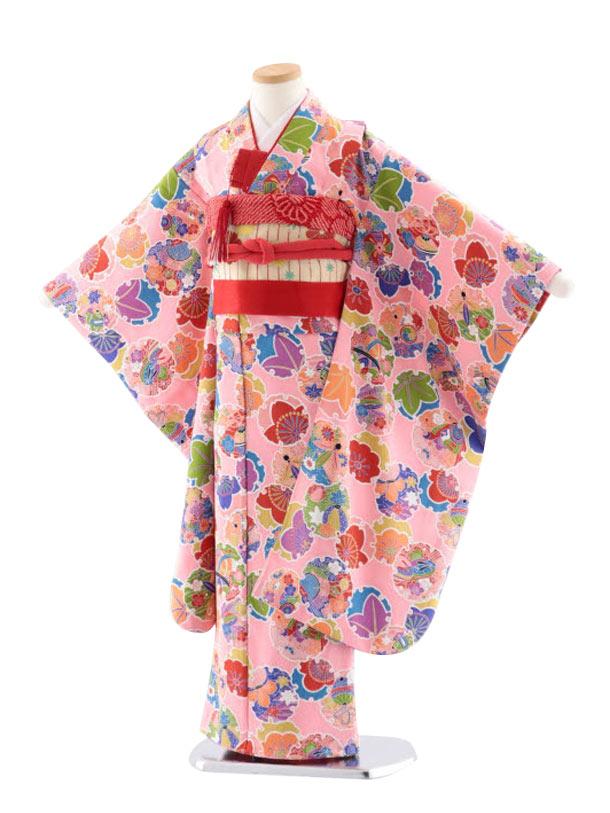 七五三(7歳女児結び帯)正絹 7721 ピンク地 小紋 雪輪