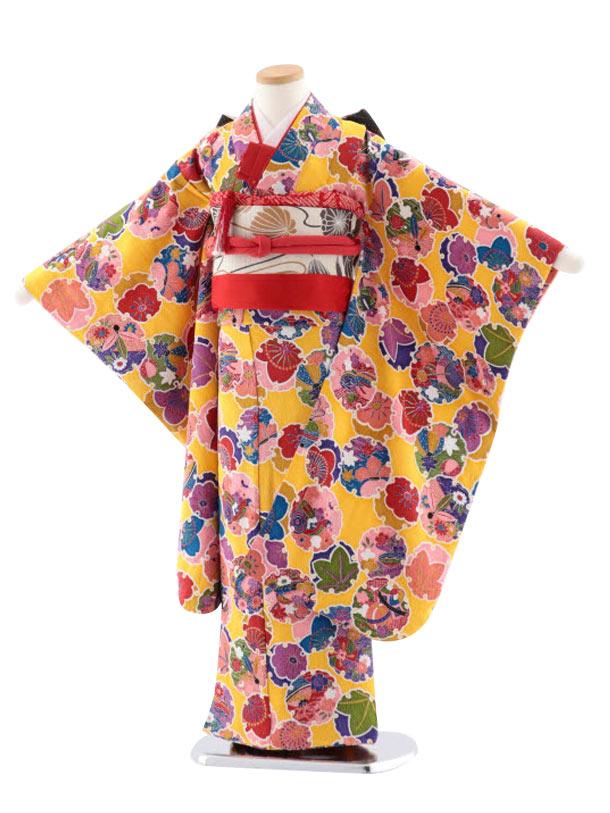 七五三(7歳女児結び帯)正絹 7722 黄色地 小紋 雪輪