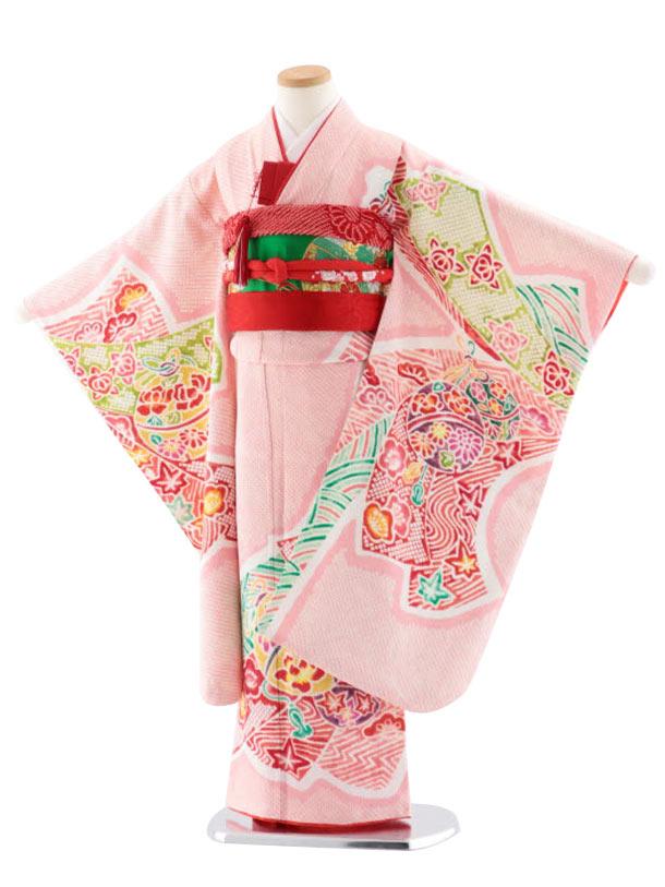 七五三(7歳女児袋帯) 高級正絹 7726 ピンク地 菱田柄 のしにまり