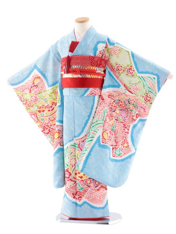 七五三レンタル(7歳女児袋帯) 高級正絹 7727 水色地 菱田柄 のしに鈴