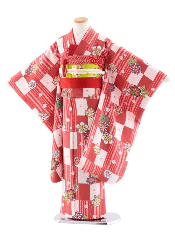 七五三レンタル(7歳女児袋帯) 正絹 7728 赤地 小紋 格子に桜