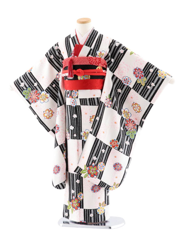 七五三レンタル(7歳女児袋帯) 正絹 7729 黒地 小紋 格子に桜