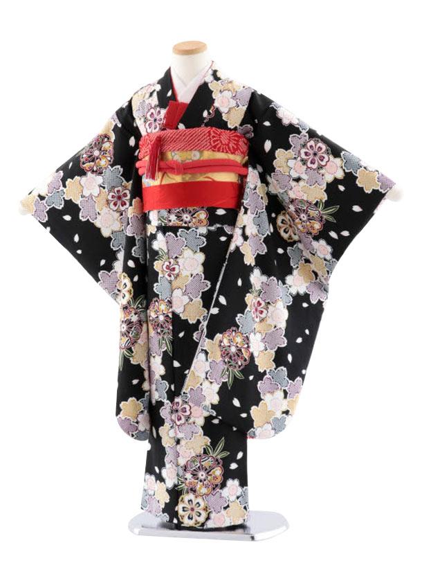 七五三レンタル(7歳女児袋帯) 正絹 7730 黒地 小紋 桜