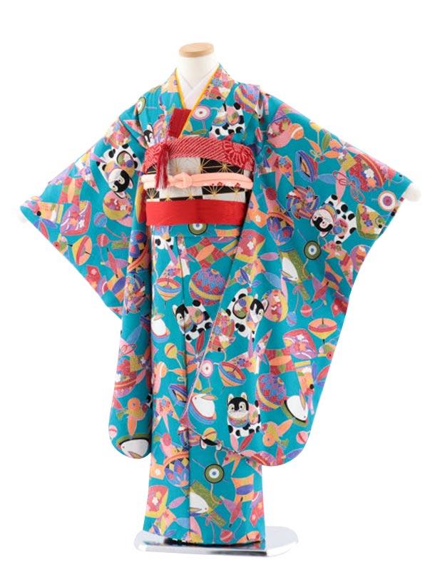 七五三(7歳女児袋帯) 正絹 7731 ターコイズ地 小紋 おもちゃ