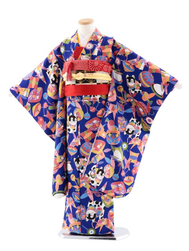 七五三レンタル(7歳女児袋帯) 正絹 7732 ブルー地 小紋 おもちゃ