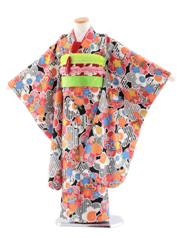 七五三レンタル(7歳女児袋帯) 正絹 7733 黒地 小紋 桜